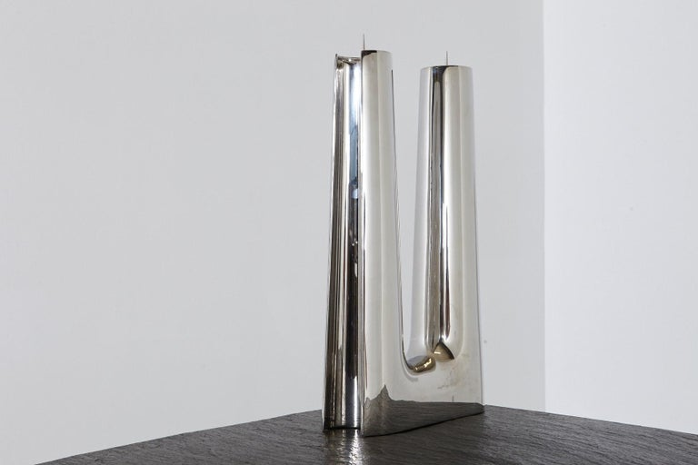 Polished Modern Georg Jensen Large Stainless Candleholder Copenhagen For Sale
