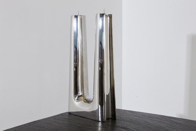 Modern Georg Jensen Large Stainless Candleholder Copenhagen In Good Condition For Sale In Pau, FR
