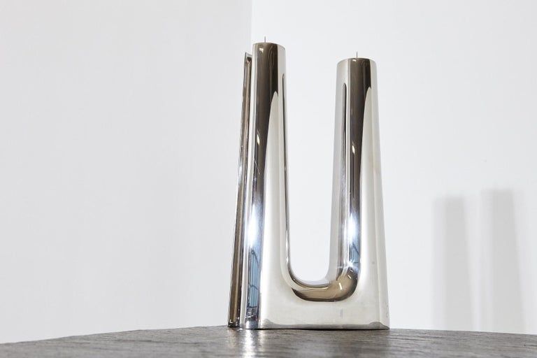 Contemporary Modern Georg Jensen Large Stainless Candleholder Copenhagen For Sale