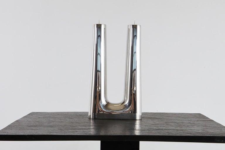 Stainless Steel Modern Georg Jensen Large Stainless Candleholder Copenhagen For Sale