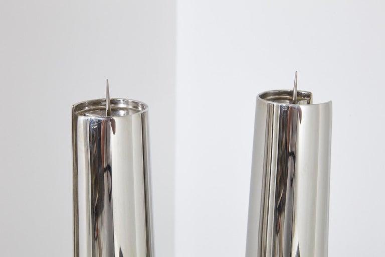 Modern Georg Jensen Large Stainless Candleholder Copenhagen For Sale 1