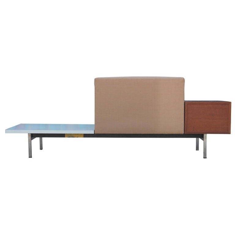 Walnut Modern George Nelson Herman Miller Modular Group Sofa with Side Table & Drawers For Sale