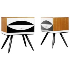 Modern German Bedside Tables with Pattern by VEB Deutsche Werkstätten Hellerau