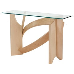 Modern Gestural Console Table with Maple Curves and Glass by Nico Yektai
