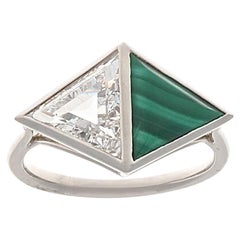 Jack Weir & Sons GIA Triangular Cut Diamond Malachite Platinum Two-Stone Ring