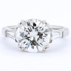 Modern GIA 3.36 Round Brilliant Cut Diamond Platinum Ring