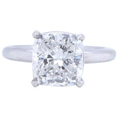 Modern GIA 4.54 Carat Cushion Cut Diamond Platinum Solitaire Ring