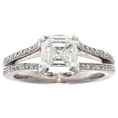 Modern GIA Asscher Cut Diamond Platinum Engagement Ring