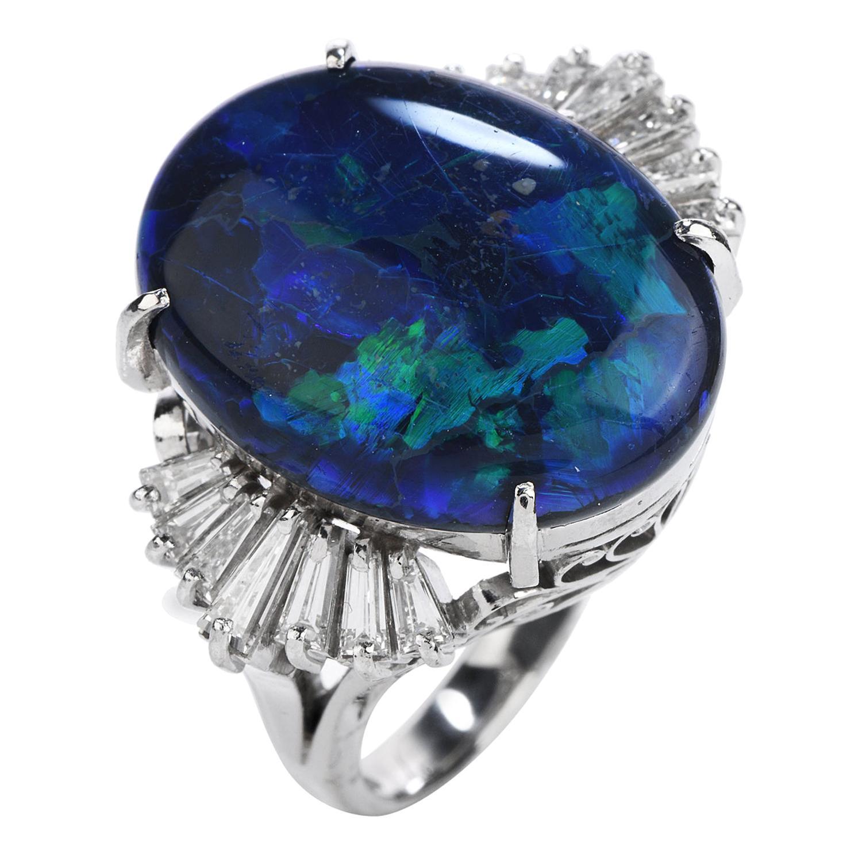 Modern GIA Certified Black Opal Diamond Platinum Cocktail Ring