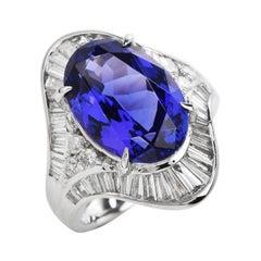 Modern GIA Certified Oval Tanzanite Diamond Platinum Cocktail Ring