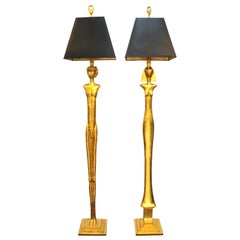 Modern Giacometti Style Figural Floor Lamps in Gilt Bronze