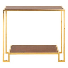 Modern Gilt Brass and Leather Top Console, circa 1970