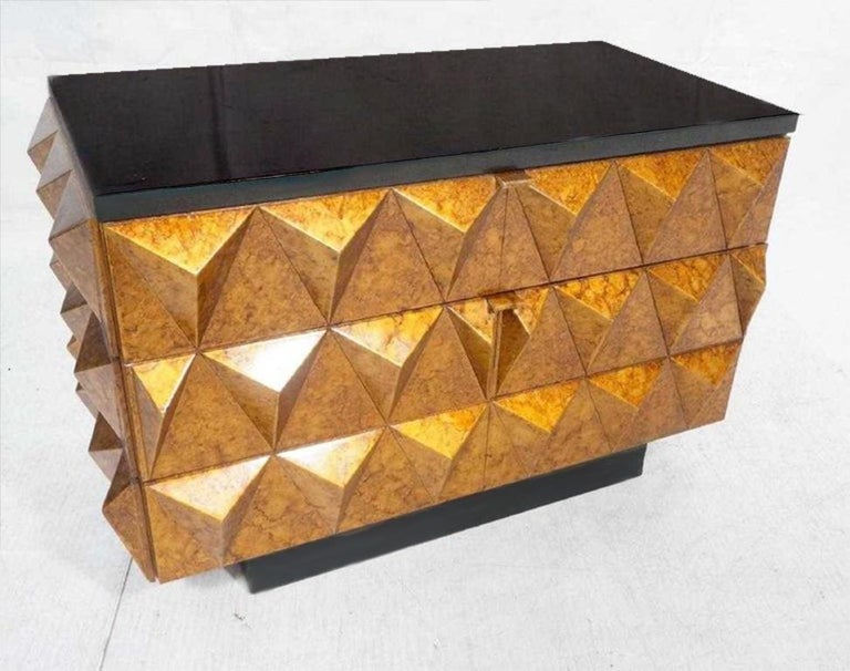 Modern Gilt Lacquered Studded Chest of Drawers In Good Condition For Sale In Oaks, PA