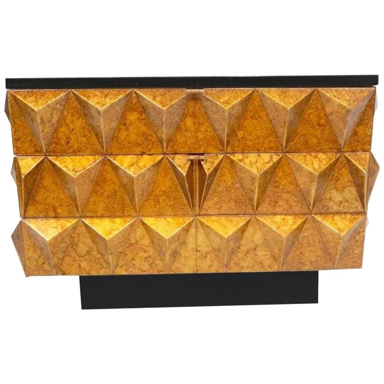 Modern Gilt Lacquered Studded Chest of Drawers For Sale