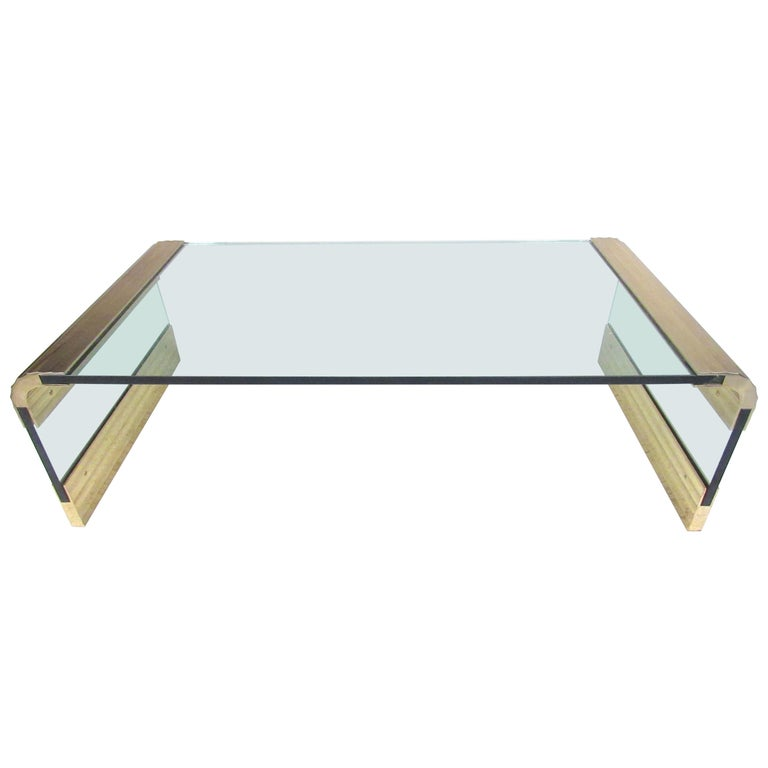Modern Glass And Brass Waterfall Coffee Table For Sale At