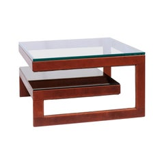 Modern Glass and Leather Coffee Table
