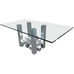 Modern Glass and Metal Table in the Style of Paul Evans