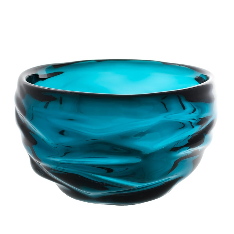 Decorative Glass Bowl, Lagoon Happy Bowl by Siemon & Salazar - Made to Order For Sale
