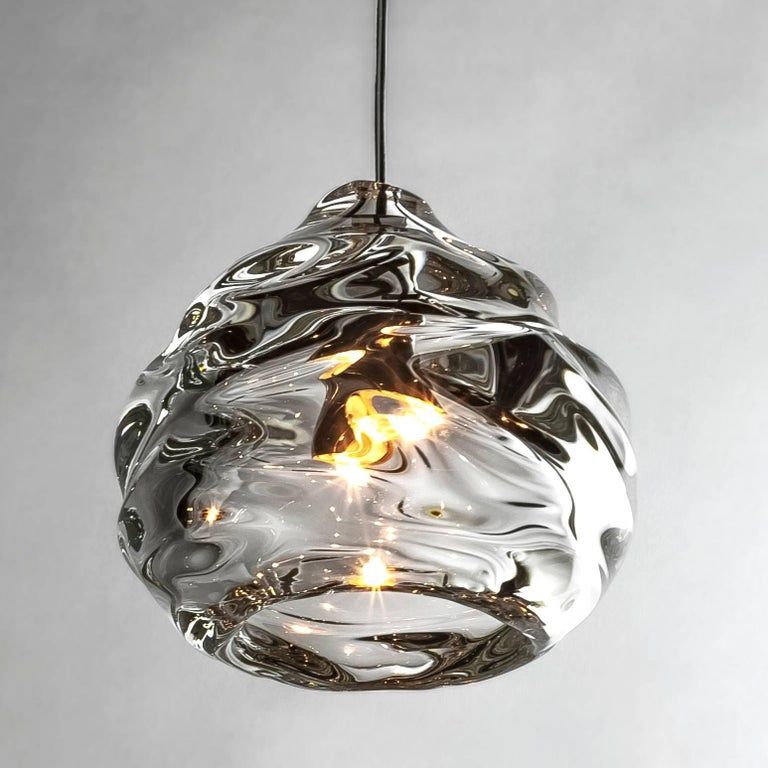 Modern Glass Chandelier, Nine Handblown Glass Happy Pendants, Made to Order In New Condition For Sale In Santa Ana, CA
