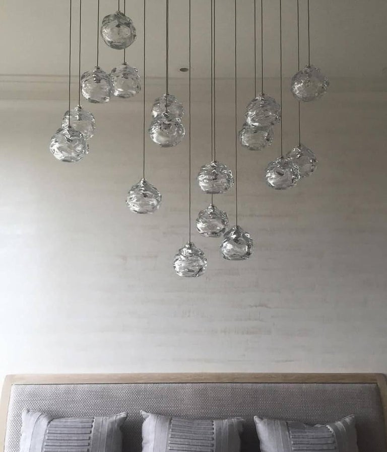 Nickel Modern Glass Chandelier, Nine Handblown Glass Happy Pendants, Made to Order For Sale