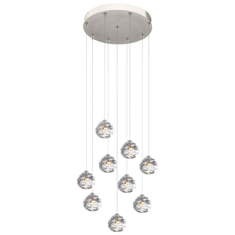 Modern Glass Chandelier, Nine Handblown Glass Happy Pendants, Made to Order For Sale