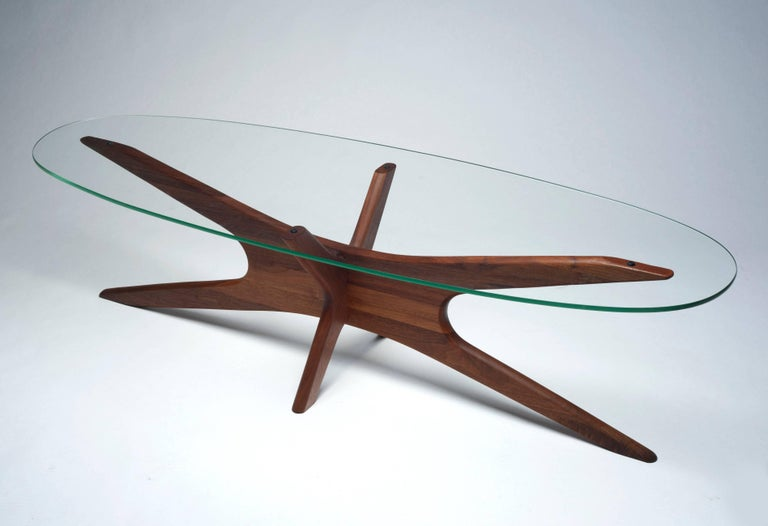 Classic Mid-Century Modern coffee table by Adrian Pearsall. Timeless design never goes out of style. Solid walnut construction with new, perfect, glass top cut to exacting original specifications. Condition is excellent.