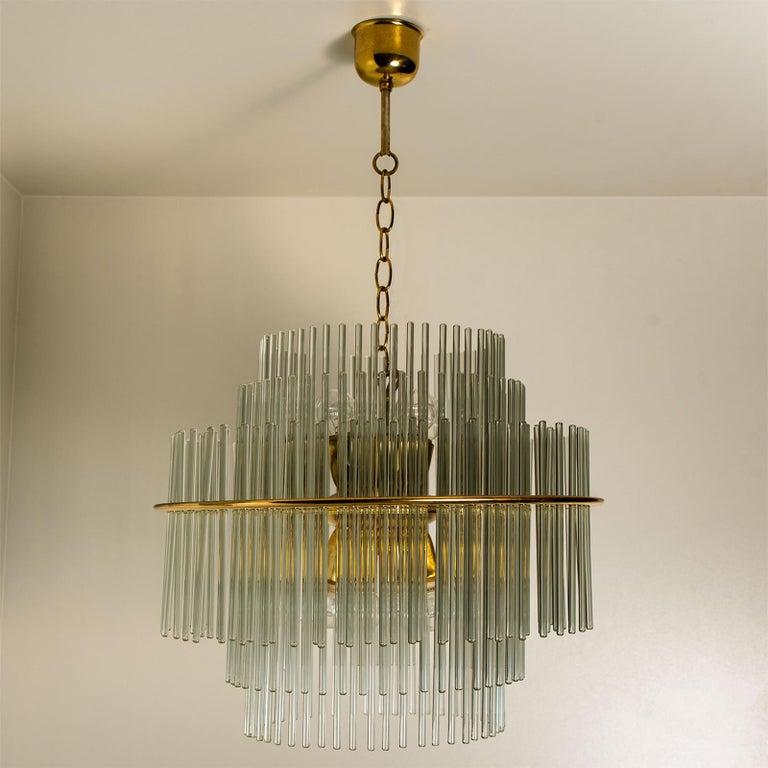 Italian Modern Glass Rod Waterfall Flushmount Sciolari for Lightolier, 1970 For Sale