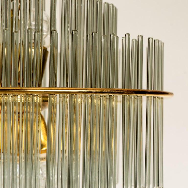 Brass Modern Glass Rod Waterfall Flush Mount Sciolari for Lightolier, 1970 For Sale