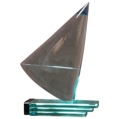 Modern Glass Sailboat Sculpture Signed Giorgio Berlini