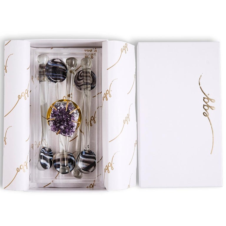 Contemporary Modern Glass Swizzle Stick Bar Set Presented in an Agate Decorated Lucite Box For Sale