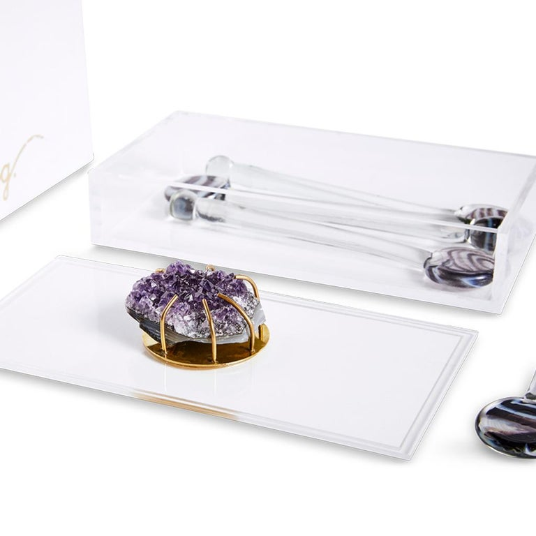 Brass Modern Glass Swizzle Stick Bar Set Presented in an Agate Decorated Lucite Box For Sale