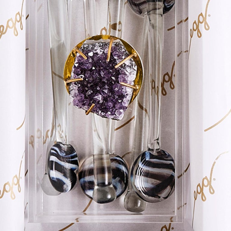 Modern Glass Swizzle Stick Bar Set Presented in an Agate Decorated Lucite Box For Sale 1