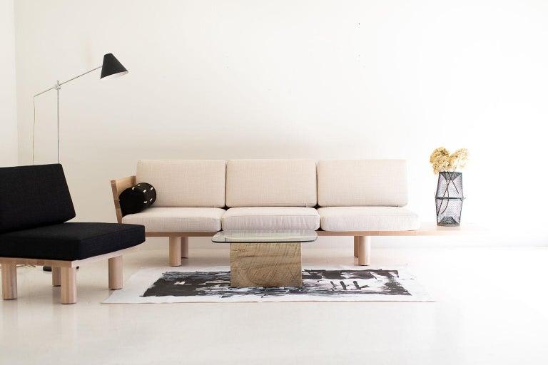 Hardwood Modern Glass Top Coffee Table For Sale