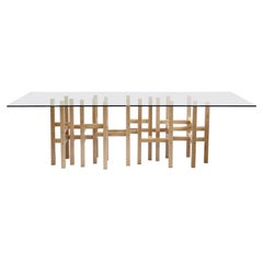 Modern Glass Top Dining Table by Peter Harrison
