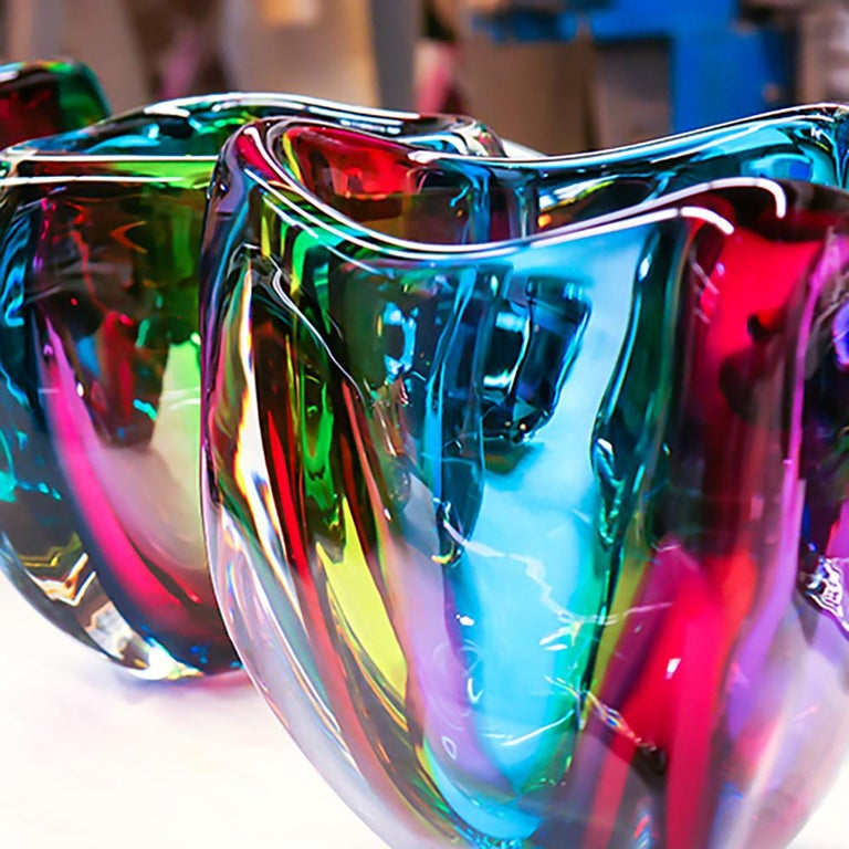 American Modern Glass Vase, Chroma Low Triangle by Siemon & Salazar - Made to Order For Sale
