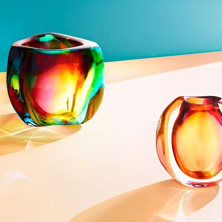 Hand-Crafted Modern Glass Vase, Chroma Low Triangle by Siemon & Salazar - Made to Order For Sale