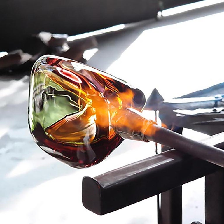 Blown Glass Modern Glass Vase, Chroma Low Triangle by Siemon & Salazar - Made to Order For Sale