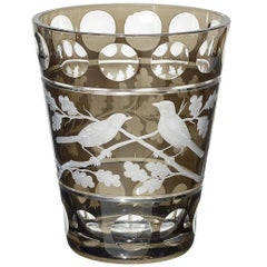 Modern Glass Vase with Birds Decor Grey Sofina Boutique Kitzbuehel