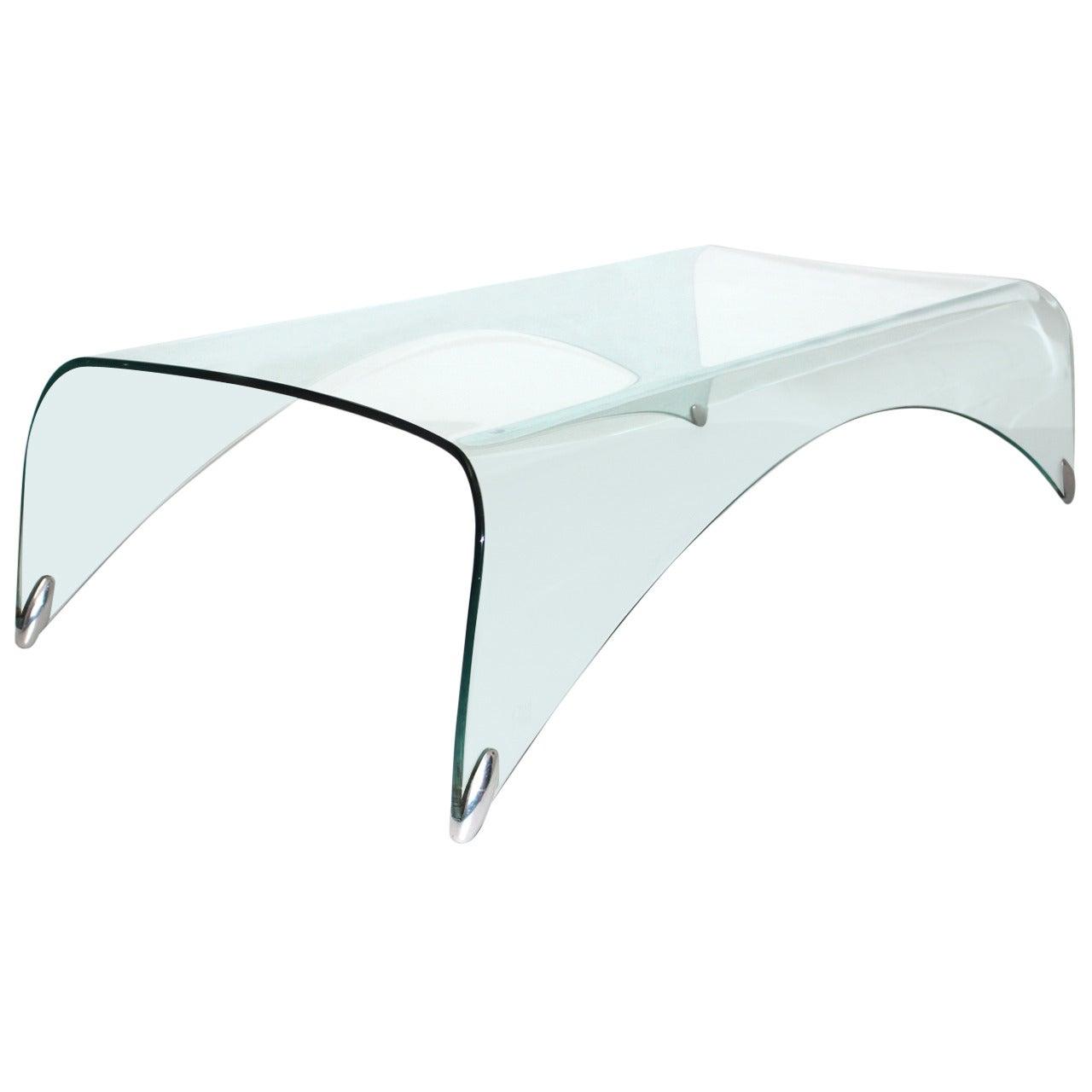 Modern Glass Vintage Coffee Table Sofa Table Genio Massimo Iosa Ghini, Italy