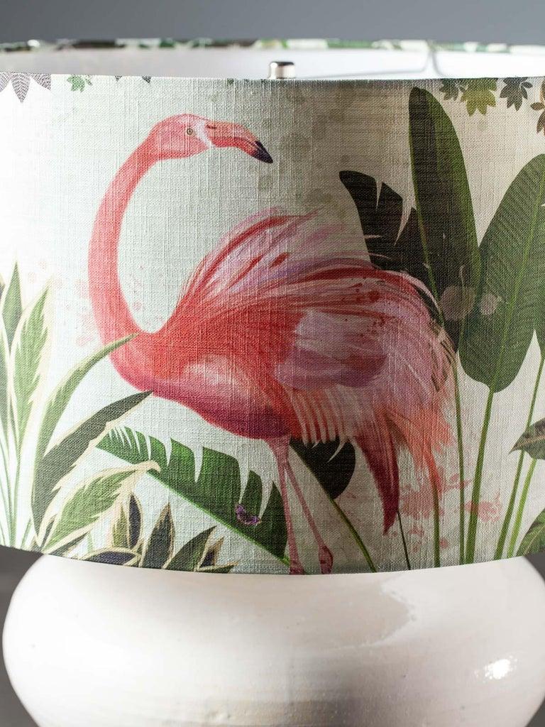 French Modern Glazed Pottery Hand Made Vase Custom Lamp Flamingo Shade For Sale