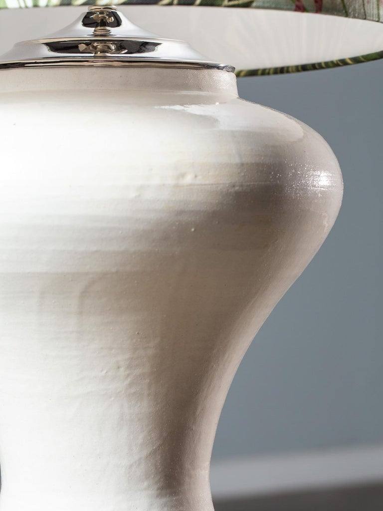 Modern Glazed Pottery Hand Made Vase Custom Lamp Flamingo Shade In Excellent Condition For Sale In Houston, TX
