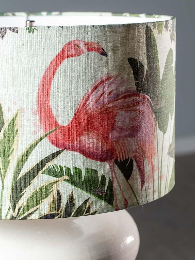 Contemporary Modern Glazed Pottery Hand Made Vase Custom Lamp Flamingo Shade For Sale