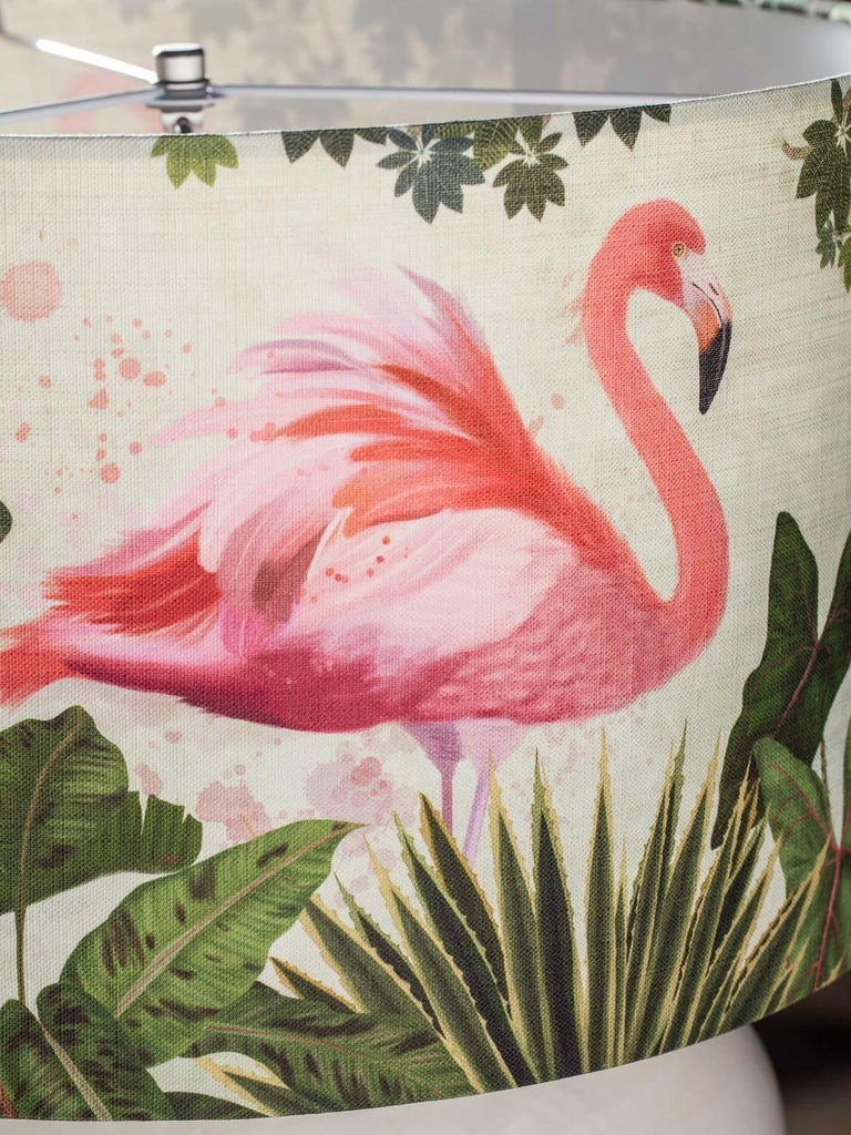 Modern Glazed Pottery Hand Made Vase Custom Lamp Flamingo Shade For Sale 2