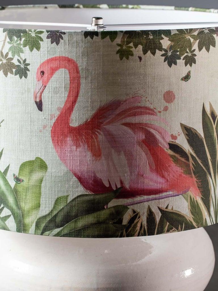 Modern Glazed Pottery Hand Made Vase Custom Lamp Flamingo Shade For Sale 3