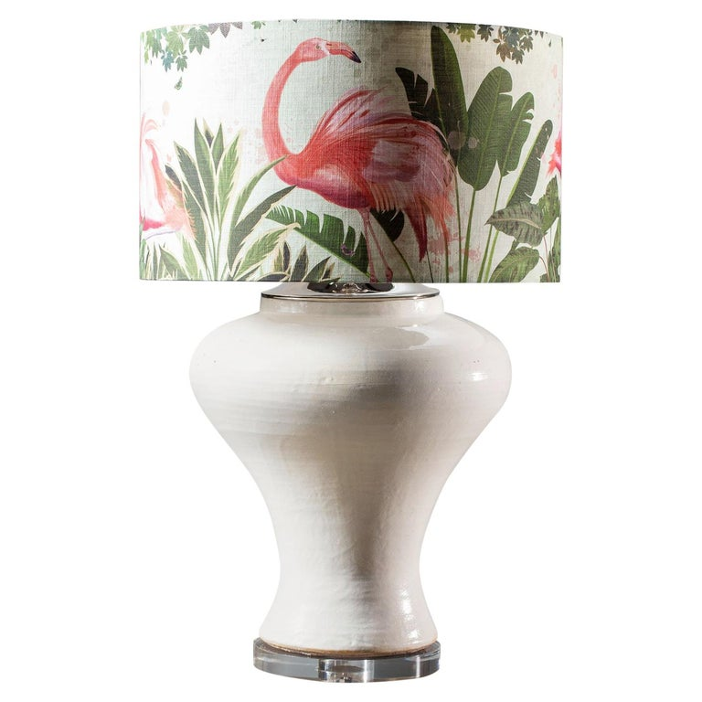Modern Glazed Pottery Hand Made Vase Custom Lamp Flamingo Shade For Sale