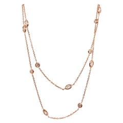 Modern Gold 1.42 Carat Natural Marquise & Round Colorless Diamond, Yard Necklace