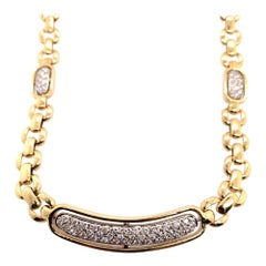 Modern Gold 1.50 Carat Natural Round Colorless Diamond Italian Necklace, 1980