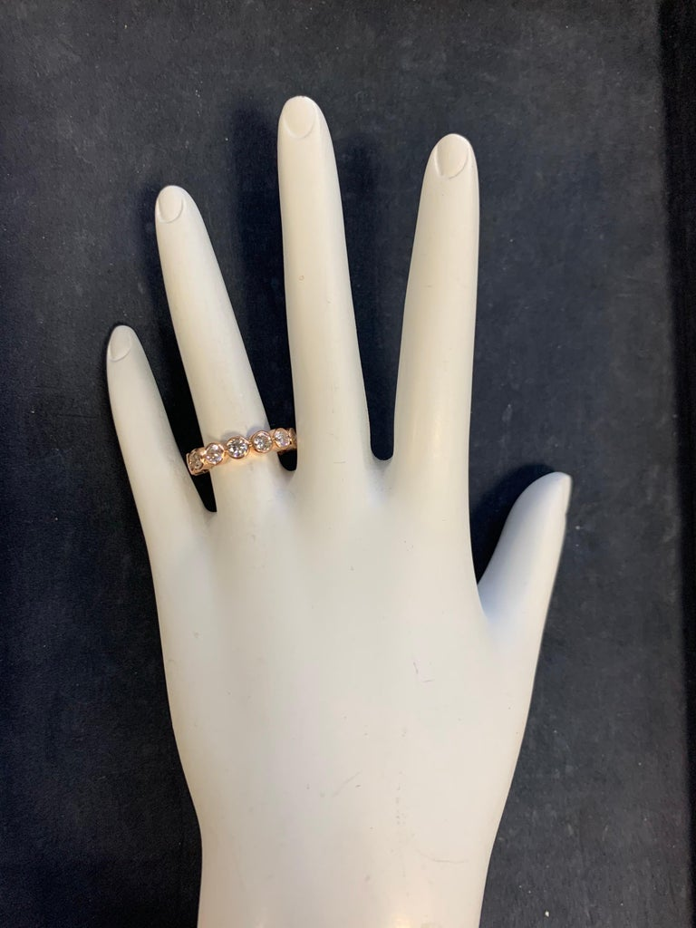 Modern Gold 2.25 Carat Natural Round Colorless Eternity Diamond Engagement Band In Excellent Condition For Sale In Los Angeles, CA