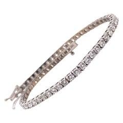 Modern Gold 3.50 Carat Natural Round Diamond Tennis Bracelet G Color VS-SI Gem