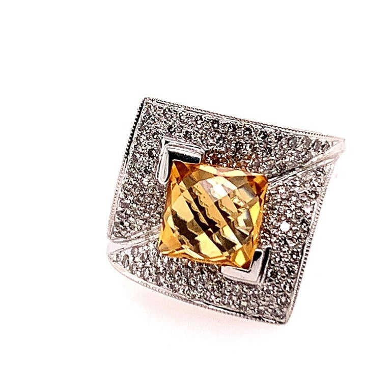 Modern Gold 3.50 Carat Natural Square Citrine & Diamond Cocktail Ring Gem Stone For Sale 6